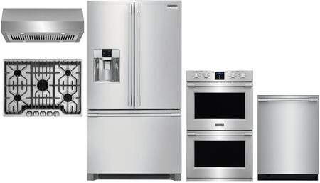 5 Piece Kitchen Appliances Package with 36″ French Door Refrigerator  30″ Electric Double Wall Oven  30″ Gas Cooktop  30″ Under Cabinet Ducted Hood