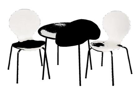 3012W Modern Children's Table and 2 Chair Set with Chrome Legs (White Color