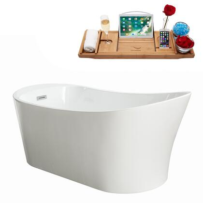 M-2200-67FSWH-DM 67″ Soaking Freestanding Tub and Tray With Internal Drain in White