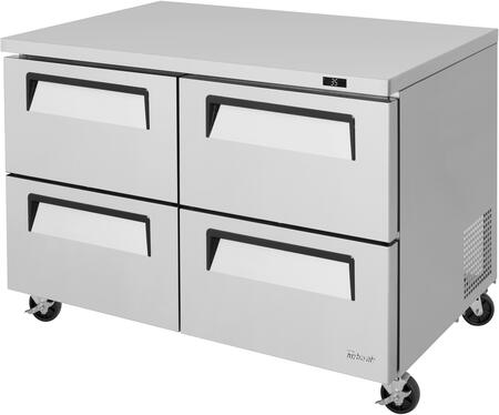 Turbo Air Super Deluxe TUR48SDD4N Undercounter and Worktop Refrigerator Stainless Steel, TUR48SDD4N Angled View