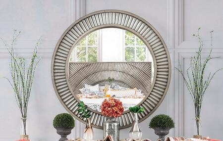 CM7521M Kamalah Collection Round Mirror With Poly-Resin  Solid Wood  Wood Veneer In Antique