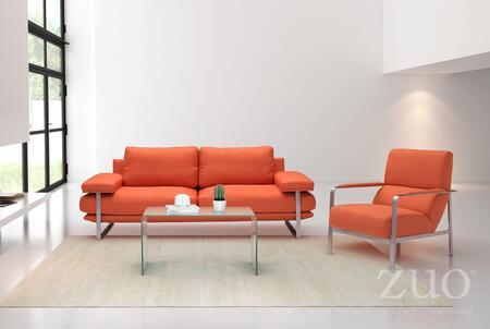 Zuo Jonkoping 900625 Stationary Sofa Orange, 500347 900625 404084