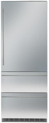 30″ Bottom Freezer Refrigerator with 84″ Height Door Panels and Oval Handles in Stainless