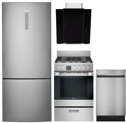 4 Piece Kitchen Appliances Package with HRB15N3BGS 28″ Bottom Freezer Refrigerator  QGAS740RMSS 24″ Gas Range  24″ Wall Mount Convertible Hood and