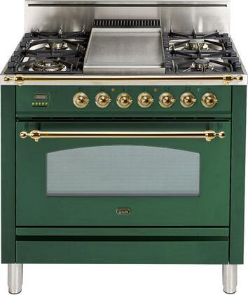 Ilve Nostalgie UPN90FDVGGVS Freestanding Gas Range Green, UPN90FDVGGVS Gas Range