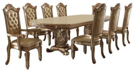 Acme Furniture Vendome 630009TC Dining Room Set Gold, 9 PC Set