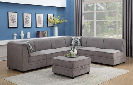 Myco Furniture Charlotte 20247PC Stationary Sofa Gray, 2024-7PC