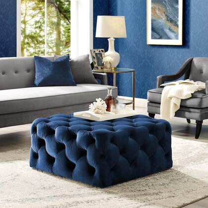 Ramon Collection ON93-02NY-AC Ottoman with Tufted Allover  Castered Legs and Velvet Upholstery in Navy