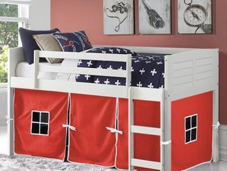 795-ATW_750C-TR 79″ Twin Louver with Red Colored Tent  Built in Ladder  Panel Headboard and Footboard in