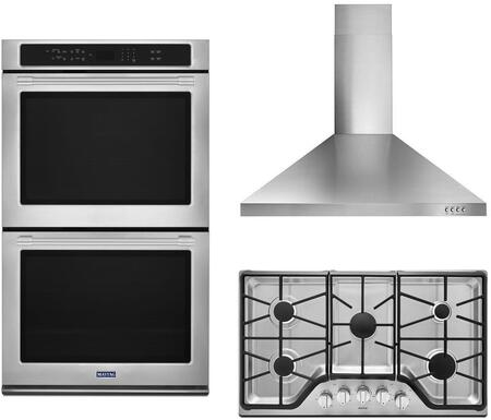3 Piece Kitchen Appliances Package with MEW9630FZ 30″ Electric Double Wall Convection Oven  MGC9536DS 36″ Gas Cooktop and WVW53UC6FS 36″ Wall Mount