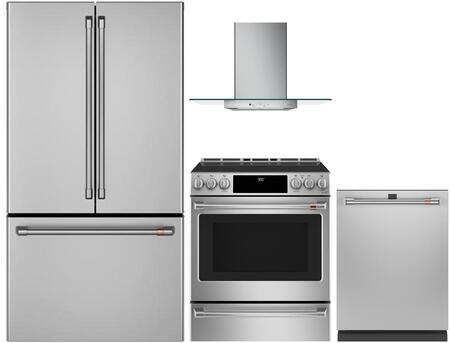 4 Piece Kitchen Appliances Package with CWE23SP2MS1 36″ French Door Refrigerator  CHS900P2MS1 30″ Slide-in Electric Range  CVW73012MSS 30″ Wall Mount