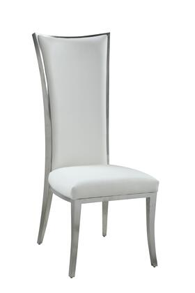 ISABEL-SC-WHT-BSH High Back Upholstered Chair with Stainless Steel Frame in