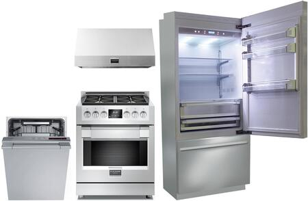 4 Piece Kitchen Appliances Package with BKI36BIRS 36″ Bottom Freezer Refrigerator  F6PGR304S1 30″ Gas Range  F6PH30S1 30″ Under Cabinet Ducted Hood