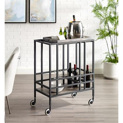 Biony Collection BC123-09GR-AC Bar Cart with Removable Serving Tray  Wine Bottle and Stemware Storage and Casters in Black and Grey