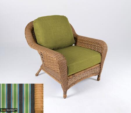 Sea Pines Collection LEX-C1-M-ECHO Club Chair in Mojave Wicker and Echo Stripe Truffle Fabric