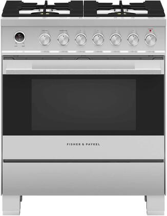 Fisher Paykel  OR30SDG6X1 Freestanding Dual Fuel Range Stainless Steel, Front view