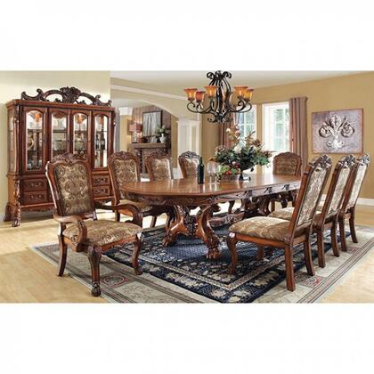 Furniture of America Medieve CM3557TFTB8SCAC Dining Room Set Brown, Main Image kit