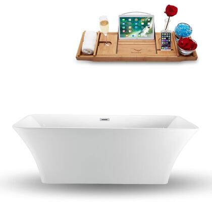 N-1000-71FSWH-FM 71″ Freestanding Tub and Tray With Internal Drain in