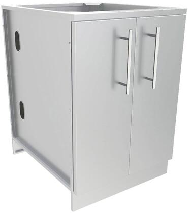 SBC24FDD 24″ Full Height Double Door Base Cabinet with 2 Shelves and Door Pocket  in Stainless