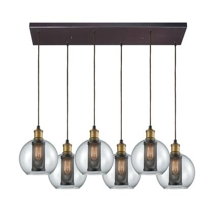 14530/6RC Bremington 6 Light Rectangle Pendant in Tarnished Brass/Oil Rubbed Bronze with Clear Glass and