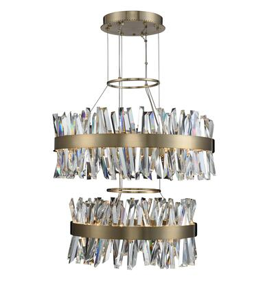 Glacier 030256-038 25 + 32″ 2 Tier LED Round Pendant in Brushed Champagne Gold Finish with Firenze Crystal Spears