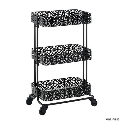Linon AMME3TIERG1 Serving Carts, AMME3TIERG1 Black Metal Three Tier Cart