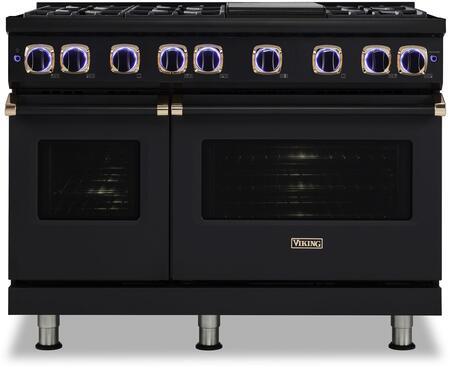Viking 7 Series VGR74826GBORG Freestanding Gas Range Black, Viking Black Out Rose Gold Trim Range Front view