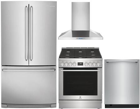 4 Piece Kitchen Appliances Package with EI23BC82SS 36″ French Door Refrigerator  EI30EF45QS 30″ Electric Range  RH30WC55GS 30″ Wall Mount Convertible