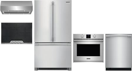 5 Piece Kitchen Appliances Package with 36″ French Door Refrigerator  30″ Electric Single Wall Oven  30″ Electric Induction Cooktop  30″ Under