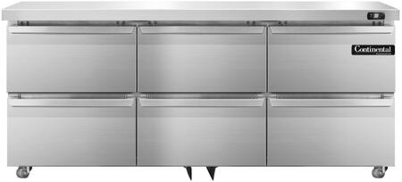 Continental Refrigerator SW72UD Undercounter and Worktop Refrigerator Stainless Steel, Main Image