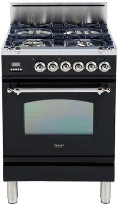 Ilve Nostalgie UPN60DVGGNX Freestanding Gas Range Black, Main Image