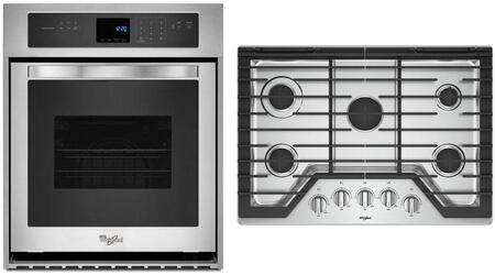 2 Piece Kitchen Appliances Package with WOS51ES4ES 24″ Electric Single Wall Oven and WCG77US0HS 30″ Gas Cooktop in Stainless