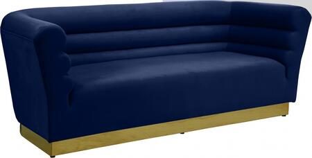 Bellini 669NAVY-S 89″ Sofa with Piped Stitching  Gold Stainless Steel Base and Velvet Upholstery in