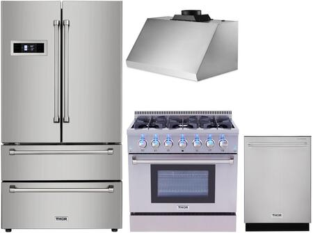 4 Piece Kitchen Appliances Package with HRF3601F 36″ French Door Refrigerator  HRD3606U 36″ Dual Fuel Gas Range  HRH3605U 36″ Under Cabinet Ducted