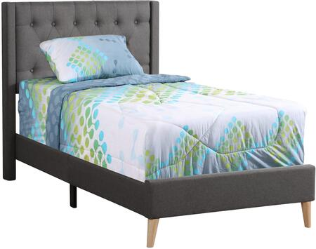 Bergen Collection G1622-TB-UP Twin Size Bed with Button Tufted Headboard  Fabric Upholstery and Tapered Legs in