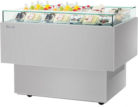 Turbo Air TOS40PNS Display and Merchandising Refrigerator Stainless Steel, TOS40PNS Angled View