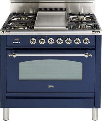 Ilve Nostalgie UPN90FDVGGBLX Freestanding Gas Range Blue, UPN90FDVGGBLX Gas Range