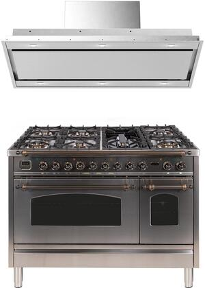 2 Piece Kitchen Appliances Package with UPN120FDMPIY 48″ Dual Fuel Gas Range and VERTICE48 48″ Mount Convertible Hood in Stainless