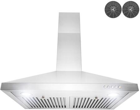 RH0463 30″ Convertible Wall Mount Range Hood with 350 CFM  LED Lighting  Baffle Filters and Push Button Controls in Stainless