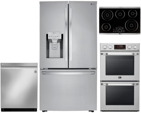 4 Piece Kitchen Appliances Package with LRFXC2406S 36″ French Door Refrigerator  LSWD307ST 30″ Electric Double Wall Oven  LSCE305ST 30″ Electric