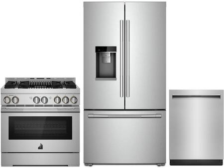 3 Piece RISE Series Wi-Fi Connected Kitchen Appliances Package with JFFCC72EHL 36″ French Door Refrigerator  JGRP636HL 36″ Gas Range and JDTSS244GL