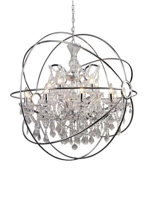 9849/10+5P-CH 15-Light Chandelier with Metal and Crystal Materials and 40 Watts in Chrome