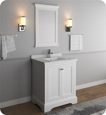 Windsor Collection FVN2430WHM 30″ Matte White Traditional Bathroom Vanity with