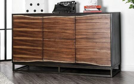 Fulton Collection CM7363D Dresser In Split Wood Paneling And Two-Tone Design In Dark Oak/Dark