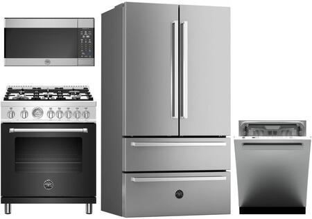4 Piece Kitchen Appliances Package with REF36X 36″ French Door Refrigerator  MAST305DFMNEE 30″ Dual Fuel Range (Matte Black)  KOTR30X 30″ Over the