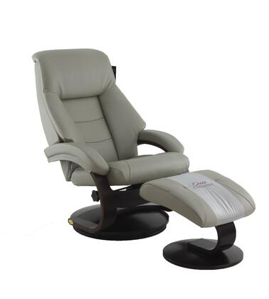 Montreal Collection MONTREAL058042 Recliner and Ottoman with Round Swivel Base  Padded Arms  Pillow Top Back Cushion  Memory Foam Cushion  Wood Frame