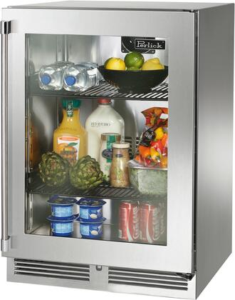 """HP24RO-3-4R 24"""" Signature Series Outdoor Right Hinge Glass Door Undercounter Refrigerator with 5.2 cu. ft. Capacity RAPIDcool Forced-air System and"""