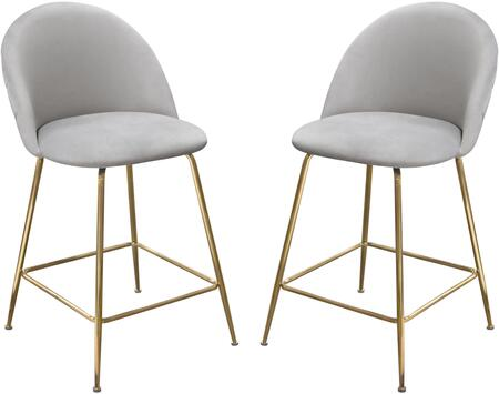 Lily Collection LILLY-ST-GR-2PK Counter Height Chair (Set of 2) with Velvet Upholstery  Grid Pattern  Foot Rest  Gold Metal Legs and Contemporary