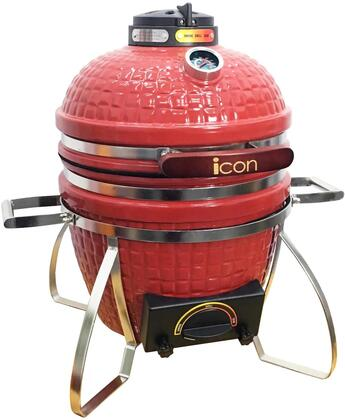 CG101RED 22″ 100 Series Table Top Kamado Grill with 217 sq. in. Cooking Area  Pull-Out Ash Drawer  Color-Coded HeatZone Controls and Lava Stone in