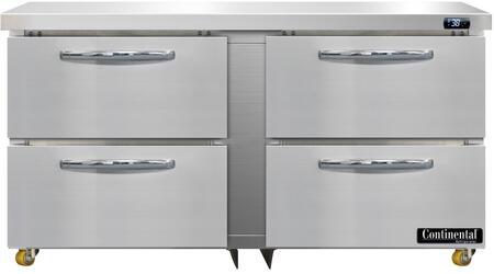 Continental Refrigerator Designer Line D60NUD Undercounter and Worktop Refrigerator Stainless Steel, D60N-U-D Undercounter Refrigerator